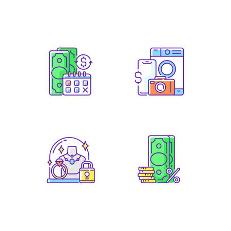 Loan office RGB color icons set. Regular payments. Pawn item. Pledge safety. Surcharge. Coverage term. Materialistic value. Security measures. Extra fee and tax. Isolated vector illustrations