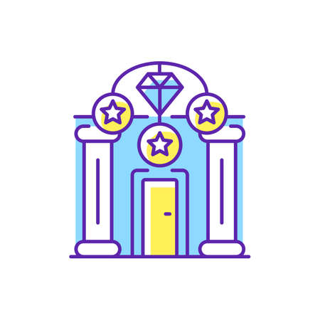 Upscale pawnshops RGB color icon. Loan offices. High-end collateral lender. Prestige pawnbrokers. Luxury goods. Jewelry, large diamonds and unique memorabilia. Isolated vector illustration
