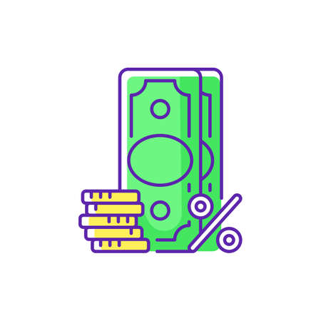 Surcharge RGB color icon. Extra fee and tax. Selling price percentage. Good and service cost additional charge. Checkout fee. Financial services. Credit card surcharge. Isolated vector illustration