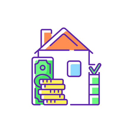 Down payment RGB color icon. Expensive good, service purchase. Initial upfront partial payment. Real estate transaction. Full purchase price percentage. Home sale price. Isolated vector illustration
