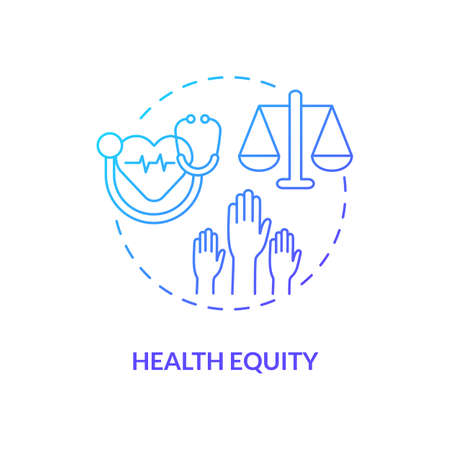 Health equity concept icon. Health programs principles. Getting best medical help from proffesionals. Clinic facility idea thin line illustration. Vector isolated outline RGB color drawing