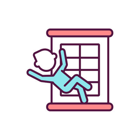 Child falling danger RGB color icon. Safety and injury precaution. Toddler physical trauma prevention. Kid fall from height. Children risk of falling from home window. Isolated vector illustration