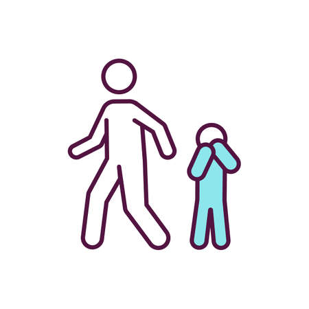 Child neglect RGB color icon. Avoidant parent. Poor family. Upset kid. Sad children. Irresponsible adult. Child maltreatment. Domestic abuse. Father, mother ignore son. Isolated vector illustration Vecteurs