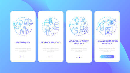 Health programs principles onboarding mobile app page screen with concepts. Gender responsive approach walkthrough 4 steps graphic instructions. UI vector template with RGB color illustrations