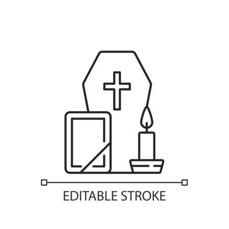 Funeral linear icon. Coffin for dead relative. Religious ritual. Sadness and grief from death. Thin line customizable illustration. Contour symbol. Vector isolated outline drawing. Editable stroke