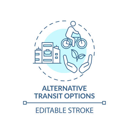 Alternative transit options concept icon. Workplace wellness idea thin line illustration. Reducing greenhouse gas. Carpooling, car sharing. Vector isolated outline RGB color drawing. Editable stroke