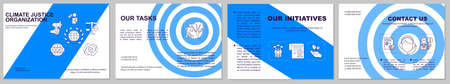 Saving environment initiative brochure template. Flyer, booklet, leaflet print, cover design with linear icons. Task list. Vector layouts for magazines, annual reports, advertising posters Ilustração