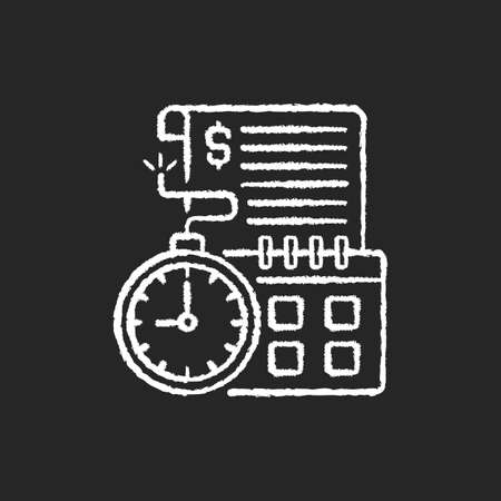 Time limit chalk white icon on black background. Repaying by stated date. Loans with term lengths. Monthly payments. Interest costs. Penalties, fees. Isolated vector chalkboard illustration