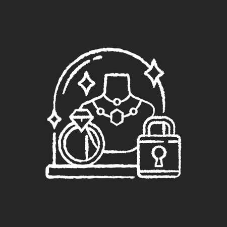 Pledge safety chalk white icon on black background. Security measures. Pawn shop responsibility. Keeping items in store secure. Collateral property. Isolated vector chalkboard illustration