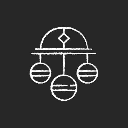 Pawn symbol chalk white icon on black background. Three spheres suspended from bar. Monetary success symbol. Pawnbrokers symbolic meaning. Lombard banking. Isolated vector chalkboard illustration