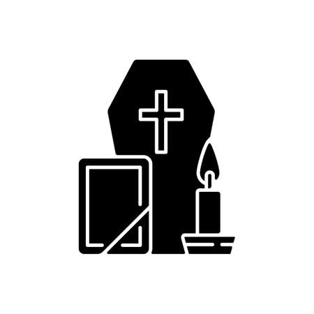 Funeral black glyph icon. Coffin for dead relative. Religious ritual. Memorial service. Cemetery ceremony. Religious burial. Silhouette symbol on white space. Vector isolated illustration