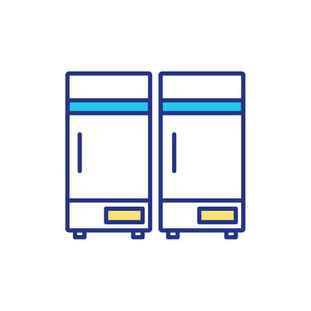 Ultra cold storage temperature RGB color icon. Special conditions for storing modern medicals for curing dangerous diseases. Medicaments stored in big refregirator. Isolated vector illustration