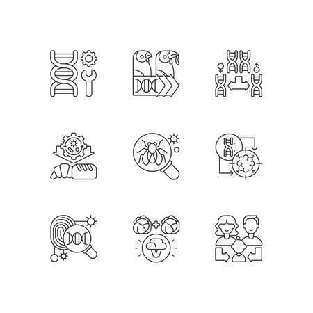 Genetics linear icons set. Genetic engineering. Chromosome division. Industrial biotechnology. Customizable thin line contour symbols. Isolated vector outline illustrations. Editable stroke