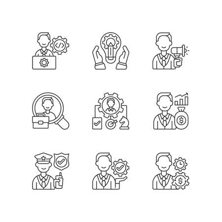 Organization structure linear icons set. IT department. Generating ideas. Advertisement. Human resource. Customizable thin line contour symbols. Isolated vector outline illustrations. Editable stroke Vector Illustratie