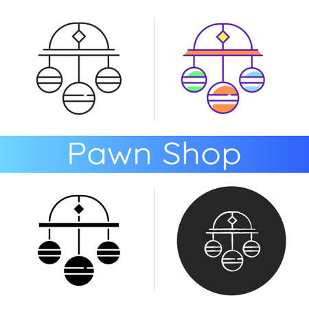Pawn symbol icon. Three spheres suspended from bar. Monetary success symbol. Pawnbrokers symbolic meaning. Lombard banking. Linear black and RGB color styles. Isolated vector illustrations