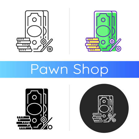 Surcharge icon. Extra fee and tax. Selling price percentage. Good and service cost additional charge. Checkout fee. Financial services. Linear black and RGB color styles. Isolated vector illustrations