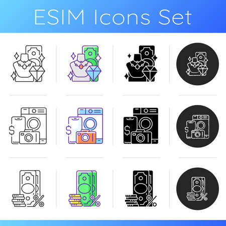 Collateral-based loans icons set. Product valuable. Pawn item. Surcharge. Extra fee and tax. High-quality items. Materialistic value. Linear, black and RGB color styles. Isolated vector illustrations