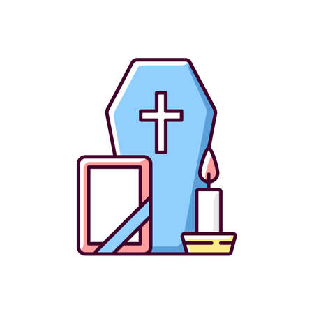 Funeral RGB color icon. Coffin for dead relative. Religious ritual. Memorial service. Sadness and grief from death. Cemetery ceremony. Religious burial. Isolated vector illustration