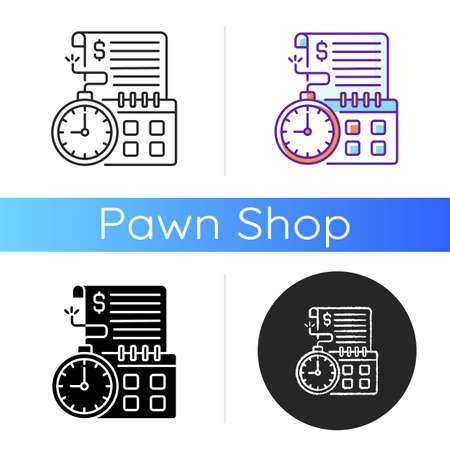 Time limit icon. Repaying by stated date. Loans with term lengths. Monthly payments. Interest costs. Penalties, fees. Linear black and RGB color styles. Isolated vector illustrations