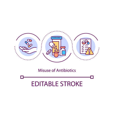 Antibiotics misuse concept icon. Taking medicine without prescription idea thin line illustration. Promoting bacterial resistance. Vector isolated outline RGB color drawing. Editable stroke