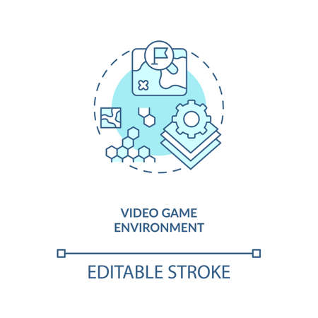 Video game environment concept icon. Video game design components. Create hero past story. Create your action idea thin line illustration. Vector isolated outline RGB color drawing. Editable stroke