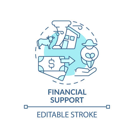 Financial support of ecology initiative concept icon. Ethical banking idea thin line illustration. Polluter pays principle. Vector isolated outline RGB color drawing. Green banking. Editable stroke