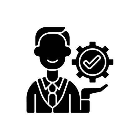 Management black glyph icon. Organization goals accomplishment. Forward planning and strategies. Problem solving and decision-making. Silhouette symbol on white space. Vector isolated illustration