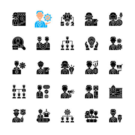 Company structure black glyph icons set on white space. Corporate hierarchy. Leadership and personnel. Marketing tactic. Supporting management. Silhouette symbols. Vector isolated illustration