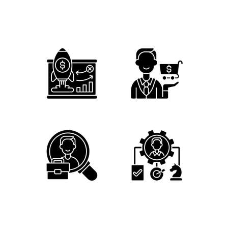 Corporate structure black glyph icons set on white space. Business model. Buying goods and products. Organization workforce. Operations management. Silhouette symbols. Vector isolated illustration Vector Illustratie
