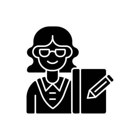 Secretary black glyph icon. Office work. Administrative professional. Personal assistant. Supporting management. Handling correspondence. Silhouette symbol on white space. Vector isolated illustration