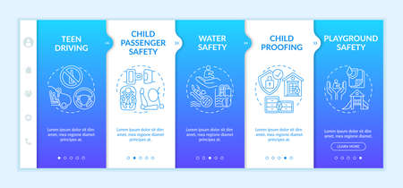 Children safety onboarding vector template. Teen driving. Child passenger safety. Childproofing. Responsive mobile website with icons. Webpage walkthrough step screens. RGB color concept