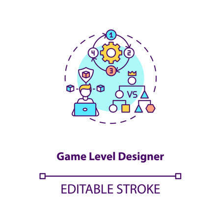 Game level designer concept icon. Game designers types. Makes good gameplay for customers. Proffesional idea thin line illustration. Vector isolated outline RGB color drawing. Editable stroke