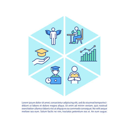 Staff training concept icon with text. Improving skills of your employees on workplace. PPT page vector template. Brochure, magazine, booklet design element with linear illustrations