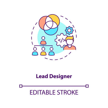 Lead designer concept icon. Game designers types. Creating modern project with powerful team. Employee idea thin line illustration. Vector isolated outline RGB color drawing. Editable stroke