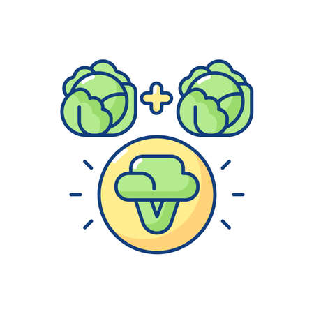 Selective breeding RGB color icon. Genetic engineering. Food modification. Agricultural production. Vegetable cultivation. Artificial selection. Laboratory experiment. Isolated vector illustration