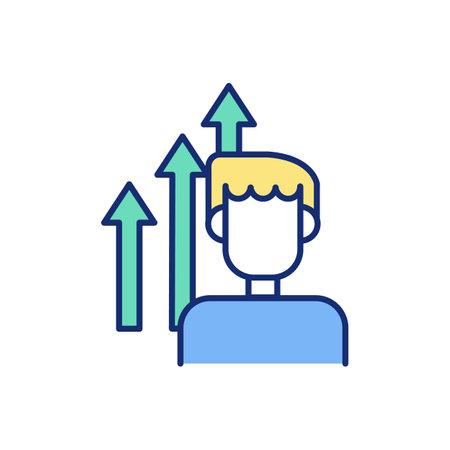 Personal development improvement RGB color icon. Boosting self-confidence. Self-development goals. Building positive habits. Improving behavior. Increasing productivity. Isolated vector illustration