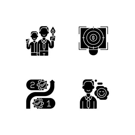 Company values black glyph icons set on white space. Employee commitment. Focus, financial goal. Consistency in project planning. Positive attitude. Silhouette symbols. Vector isolated illustration