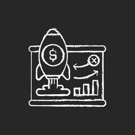Business model chalk white icon on black background. Company plan for making profit. Strategy for profitably doing business. Identifying revenue sources. Isolated vector chalkboard illustration