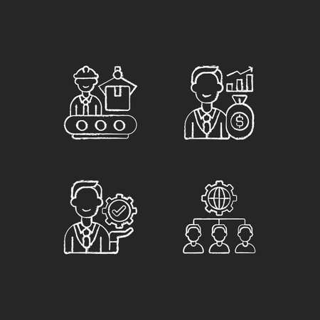 Company hierarchical structure chalk white icons set on black background. Production department. Investor. Outsourcing practice. Management. Making profit. Isolated vector chalkboard illustrations