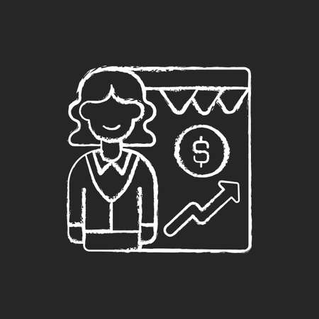 Sales department chalk white icon on black background. Business activities and processes. Marketing functions. Developing relationships with customers. Isolated vector chalkboard illustration
