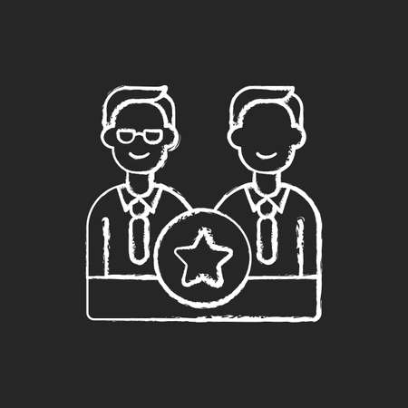 Directorate chalk white icon on black background. Membership on directors board. Executive staff. Specialized administrative body. Director office. Isolated vector chalkboard illustration