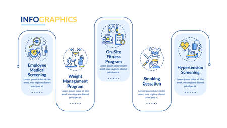 Workspace wellness programs vector infographic template. Checkups, stop smoking presentation design elements. Data visualization with 5 steps. Process timeline chart. Workflow layout with linear icons