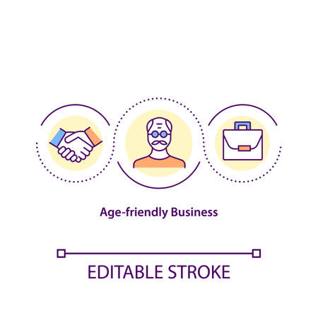 Age friendly business concept icon. Provide provide customer service experience. Services that meet all needs idea thin line illustration. Vector isolated outline RGB color drawing. Editable stroke