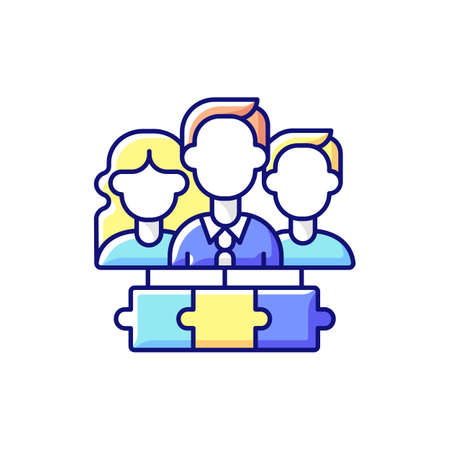 Team RGB color icon. Working together. Cooperation for accomplishing purpose. Workplace teammates. Teamwork, collaboration. Achieving processes and goals together. Isolated vector illustration