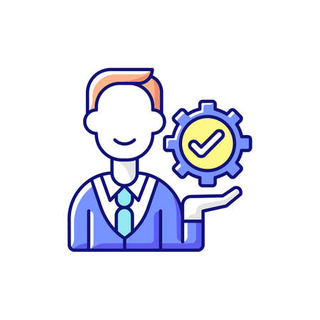 Management RGB color icon. Organization goals accomplishment. Forward planning and strategies. Problem solving and decision-making. Organizational awareness. Isolated vector illustration Vecteurs