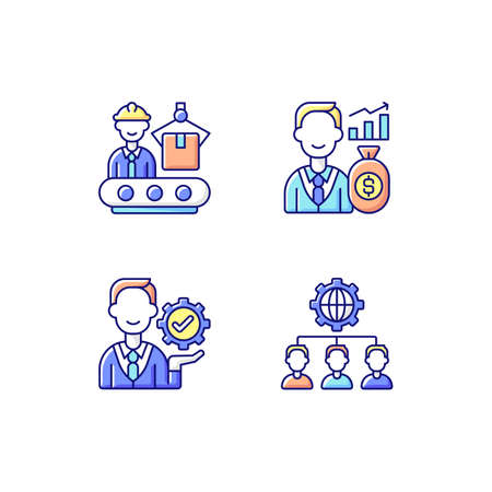 Company hierarchical structure RGB color icons set. Production department. Investor. Outsourcing practice. Converting raw materials. Management. Making profit. Isolated vector illustrations Vector Illustratie