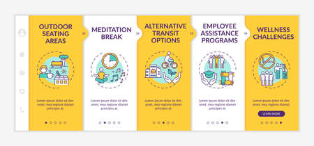 Corporate wellness practices onboarding vector template. Outdoor seating areas. Employee assistance program. Responsive mobile website with icons. Webpage walkthrough step screens. RGB color concept