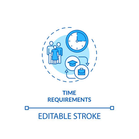 Time requirements concept icon. Staff training idea thin line illustration. Normal working hours. Affecting work and productivity levels. Vector isolated outline RGB color drawing. Editable stroke