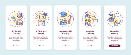 Staff training methods onboarding mobile app page screen with concepts. On-the-job and off-the-job education walkthrough 5 steps graphic instructions. UI vector template with RGB color illustrations Vektorové ilustrace