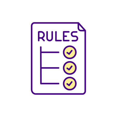 Video game rules RGB color icon. Video game design components. Restricting user from accessing wrong storyline on specific moment. Developing best gaming experience. Isolated vector illustration